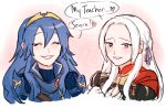 2girls blue_hair blush cape cute dashingicecream edelgard_von_hresvelg english_text fire_emblem fire_emblem:_fuukasetsugetsu fire_emblem:_kakusei fire_emblem:_three_houses fire_emblem_awakening fire_emblem_heroes fire_emblem_musou gloves hair_ribbon intelligent_systems koei_tecmo long_hair lucina lucina_(fire_emblem) multiple_girls nintendo red_cape ribbon smile super_smash_bros. super_smash_bros._ultimate tiara
