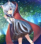 1girl bangs blush claw_pose cloak day dutch_angle eyebrows_visible_through_hair fang forest gochuumon_wa_usagi_desu_ka? green_eyes hair_ornament hood hood_down hooded_cloak kafuu_chino light_blue_hair looking_at_viewer nature open_mouth outdoors psyche3313 solo tree x_hair_ornament