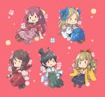5girls :d ahoge asakaze_(kantai_collection) bangs black_hair blonde_hair boots bow brown_footwear brown_hair chibi cross-laced_footwear drill_hair hair_bow hair_ornament hair_ribbon hakama harukaze_(kantai_collection) harunohotaru hat hatakaze_(kantai_collection) holding holding_umbrella japanese_clothes kamikaze_(kantai_collection) kantai_collection lace-up_boots long_hair matsukaze_(kantai_collection) meiji_schoolgirl_uniform mini_hat mini_top_hat multiple_girls open_mouth oriental_umbrella parted_bangs pink_background pink_hakama ponytail purple_hair red_bow red_ribbon ribbon short_hair smile top_hat twin_drills umbrella wavy_hair yellow_ribbon |_|