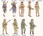 6+girls ankle_boots ankle_wrap arisaka assault_rifle battle_rifle bayonet black_hair bolt_action boots brown_eyes brown_hair camouflage combat_boots commentary contrapposto flak_jacket full_body gaiters gloves green_eyes gun hand_on_hip hat helmet highres howa_type_64 howa_type_89 imperial_japanese_army japan japan_ground_self-defense_force japan_self-defense_force load_bearing_equipment long_hair longmei_er_de_tuzi looking_at_viewer military military_hat military_uniform multiple_girls number original peaked_cap pouch revision rifle short_ponytail sling smile soldier standing timeline translated twintails uniform weapon white_gloves world_war_ii