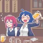 2girls alcohol beer blue_eyes blue_hair breasts closed_eyes collared_shirt cup drinking_glass facing_viewer hcnone holding holding_cup indoors long_sleeves looking_away medium_breasts multiple_girls original parted_lips pink_hair pixel_art shirt short_hair skye_(hcnone) white_shirt