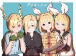 4girls armor bangs bare_shoulders black_hoodie blonde_hair blood blood_splatter blue_eyes blunt_bangs bow claws clenched_hands collarbone commentary cracked_skin detached_sleeves double_bun dragon_girl dragon_horns eyebrows_visible_through_hair green_eyes hair_bow hair_ornament hair_over_one_eye hair_ribbon hairclip hands_on_another's_shoulders haniwa_(statue) head_tilt hood hood_down hoodie horns idolmaster idolmaster_cinderella_girls joutouguu_mayumi kagamine_rin kicchou_yachie long_sleeves looking_at_viewer mefomefo midriff multiple_girls paw_pose red_eyes ribbon sailor_collar scabbard scales sheath shirasaka_koume short_hair short_sleeves simple_background skull sleeves_past_wrists slit_pupils smile spanish_text touhou translated treble_clef upper_body vambraces vocaloid x_x yellow_eyes