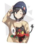 1boy alternate_costume arm_up bangs beanie black_eyes black_hair blue_headwear blush closed_mouth collarbone cropped_torso gen_7_pokemon happy hat highres holding holding_pokemon litten long_sleeves looking_to_the_side male_focus one_eye_closed open_mouth pokemon pokemon_(creature) pokemon_(game) pokemon_sm red_eyes rowlet shiny shiny_hair short_hair simple_background smile sweater swept_bangs two-tone_background unapoppo upper_body white_background yellow_sclera yellow_sweater you_(pokemon)