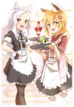 2girls :d alternate_costume animal_ear_fluff animal_ears apron bangs black_gloves black_legwear blonde_hair commentary_request enmaided eyebrows_visible_through_hair fang fingerless_gloves food fox_ears fox_girl frills fruit gloves hair_ornament hand_on_hip highres holding holding_tray kuro_kosyou long_hair looking_at_viewer maid maid_headdress multiple_girls open_mouth pantyhose parfait puffy_short_sleeves puffy_sleeves red_eyes senko_(sewayaki_kitsune_no_senko-san) sewayaki_kitsune_no_senko-san shiro_(sewayaki_kitsune_no_senko-san) short_hair short_sleeves smile strawberry thick_eyebrows tray wa_maid waist_apron whisker_markings white_hair white_legwear wide_sleeves wrist_cuffs yellow_eyes
