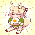 1girl animal_ear_fluff animal_ears bangs blob blush bread brown_footwear closed_eyes dress eating eighth_note eyebrows_visible_through_hair food fox_ears fox_girl fox_tail fried_egg full_body green_dress hair_between_eyes hair_bun hair_ornament highres holding holding_food kemomimi-chan_(naga_u) kneehighs long_hair long_sleeves motion_lines musical_note naga_u orange_neckwear original ribbon-trimmed_sleeves ribbon_trim sidelocks sitting sleeves_past_fingers sleeves_past_wrists solo tail tail_wagging white_legwear