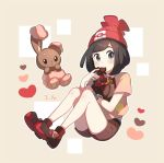 1girl alternate_color bangs beanie beige_background belt black_eyes black_hair blush bracelet brown_eyes brown_shirt brown_shorts buneary candy chocolate chocolate_heart closed_mouth dated eating flat_chest floral_print food full_body gen_4_pokemon hand_up hands_up hat heart jewelry knees_up looking_at_viewer mizuki_(pokemon) outline poke_ball_symbol poke_ball_theme pokemon red_footwear red_headwear shiny shiny_hair shiny_pokemon shirt shoes short_hair short_shorts short_sleeves shorts simple_background sitting two-tone_background unapoppo undershirt valentine white_outline
