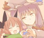 2girls animal_ears blush bow braid brown_background brown_eyes cat_ears closed_eyes commentary commentary_request eyebrows eyebrows_visible_through_hair hair_bow hat hazuki_ruu heart heart_hands heart_hands_duo kaenbyou_rin long_hair mob_cap multiple_girls patchouli_knowledge purple_hair redhead simple_background smile touhou