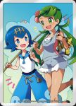 2girls blue_eyes blue_hair dark_skin fishing_rod green_eyes green_hair highres mao_(pokemon) multiple_girls official_art pokemon pokemon_(game) pokemon_sm pokemon_trading_card_game suiren_(pokemon)