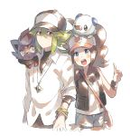 1boy 1girl arm_grab bag baseball_cap black_headwear black_vest blue_eyes blue_shorts blush brown_hair closed_mouth cowboy_shot cropped_legs denim denim_shorts eye_contact flat_chest gen_5_pokemon green_eyes green_hair hand_up happy hat highres jewelry long_hair long_sleeves looking_at_another looking_to_the_side n_(pokemon) necklace open_mouth oshawott pink_headwear poke_ball_symbol poke_ball_theme pokemon pokemon_(creature) pokemon_(game) pokemon_bw ponytail shiny shiny_hair shirt short_shorts shorts simple_background sleeveless sleeveless_shirt smile standing teeth tied_hair touko_(pokemon) unapoppo undershirt vest watch watch white_background white_shirt zorua