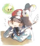 1boy baseball_cap black_eyes blue_hoodie blue_jacket blush blush_stickers brown_hair chin_rest closed_eyes emolga floating full_body gen_5_pokemon hand_up hat jacket long_sleeves male_focus open_mouth poke_ball_symbol poke_ball_theme pokemon pokemon_(creature) pokemon_(game) pokemon_bw red_headwear shiny shiny_hair short_hair simple_background sitting sleeping solosis standing table touya_(pokemon) translated unapoppo upper_body watch white_background zipper_pull_tab
