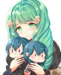 1girl bow byleth_(fire_emblem) byleth_(fire_emblem)_(female) byleth_(fire_emblem)_(male) character_doll closed_mouth doll fire_emblem fire_emblem:_three_houses flayn_(fire_emblem) garreg_mach_monastery_uniform green_eyes green_hair hair_ornament highres holding holding_doll long_hair mashiro_shirou simple_background smile solo uniform upper_body white_background