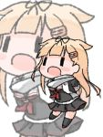 1girl arms_behind_back black_legwear black_ribbon black_serafuku black_skirt blonde_hair chibi commentary_request hair_flaps hair_ornament hair_ribbon hairclip kantai_collection kneehighs long_hair looking_at_viewer neckerchief pleated_skirt red_neckwear remodel_(kantai_collection) ribbon sattsu scarf school_uniform serafuku simple_background skirt solo standing white_background white_scarf yuudachi_(kantai_collection) zoom_layer ||_||