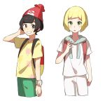 2boys adapted_costume backpack bag bangs beanie black_hair blonde_hair blush blush_stickers bracelet cowboy_shot cropped_legs drawstring floral_print genderswap genderswap_(ftm) green_eyes green_shorts grin hand_up hat jewelry lillie_(pokemon) looking_at_another looking_at_viewer looking_to_the_side male_focus mizuki_(pokemon) multiple_boys open_mouth poke_ball_symbol poke_ball_theme pokemon pokemon_(game) pokemon_sm red_headwear shiny shiny_hair shirt short_hair short_shorts short_sleeves shorts simple_background smile standing teeth unapoppo white_background white_shirt white_shorts yellow_shirt