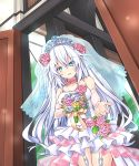 1girl bare_shoulders black_heart blue_eyes blue_flower blue_rose bouquet breasts bride collarbone commentary_request detached_sleeves dress eyebrows_visible_through_hair flower flower_choker garter_straps hair_between_eyes holding holding_bouquet joney long_hair looking_at_viewer medium_breasts neptune_(series) open_door outstretched_arm parted_lips pink_flower pink_rose power_symbol-shaped_pupils rose sleeves_past_wrists smile solo standing tiara very_long_hair wedding_dress white_hair yellow_flower yellow_rose