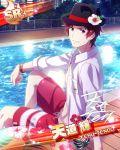 character_name hat idolmaster idolmaster_side-m pool red_eyes redhead shirt short_hair tendou_teru