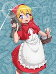 1girl basket blonde_hair blood bloody_clothes blue_eyes bulleta dollar_bill dress gun kurozu_(crozu) looking_at_viewer mac-10 machine_pistol money red_dress short_hair smile solo sparkling_eyes submachine_gun vampire_(game) weapon