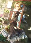 1girl bird black_dress breasts brown_eyes brown_hair dress dutch_angle earrings fence flower flower_box hair_flower hair_ornament hands_in_pockets highres jewelry looking_at_viewer looking_back necklace original outdoors sho_(sumika) short_hair small_breasts solo standing
