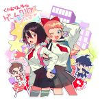 2boys 2girls artist_name candy chibi city commentary dengaku_ame food hands_in_pocket heart highres jacket jacket_on_shoulders kunio-kun kunio-kun_series kyoko_(kunio-kun) misako_(kunio-kun) multiple_boys multiple_girls necktie one_eye_closed riki_(kunio-kun) river_city_girls sarashi school_uniform skirt thigh-highs translation_request