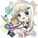 1girl alternate_costume apron axopwx7126 black_dress blue_eyes chibi commentary_request dress drink fang food frilled_apron frills full_body little_busters! long_hair looking_at_viewer maid_headdress noumi_kudryavka pancake silver_hair simple_background solo spill star tray waitress white_apron white_background
