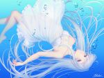 1girl bangs bare_shoulders barefoot breasts brown_eyes bubble dress highres long_hair ocean original sakura_shiho solo underwater water wet white_dress white_hair white_skin