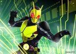 1boy armor batsu fighting_stance glowing_lines kamen_rider_01_(series) kamen_rider_zero-one male_focus rider_belt shoulder_pads twitter_username upper_body