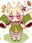 +_+ 1girl :o animal_ear_fluff animal_ears arms_up bangs blonde_hair blush boned_meat brown_collar detached_sleeves dress eyebrows_visible_through_hair food fox_ears fox_girl fox_tail green_dress green_sleeves hair_between_eyes hair_bun hair_ornament highres kemomimi-chan_(naga_u) kneehighs long_hair long_sleeves looking_at_viewer meat naga_u orange_neckwear original outstretched_arms parted_lips red_eyes red_footwear ribbon-trimmed_sleeves ribbon_trim sidelocks simple_background sleeveless sleeveless_dress sleeves_past_fingers sleeves_past_wrists solo sparkle spoken_food standing tail thought_bubble white_background white_legwear zouri