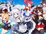 6+girls :d :t akagi-chan_(azur_lane) animal_ears anniversary apron arm_up azur_lane bare_shoulders belchan_(azur_lane) belfast_(azur_lane) bell black_gloves black_headwear black_legwear black_skirt blonde_hair blue_eyes blue_hair blue_legwear blue_shirt blue_skirt blue_sky bow bowtie braid brown_legwear cape clouds collarbone commentary_request criss-cross_halter day detached_collar dress elbow_gloves extra_ears fingerless_gloves fox_ears fur_trim gloves gradient_hair hair_bow hair_ornament hair_ribbon hairclip halterneck hands_up haori hat hiei-chan_(azur_lane) holding holding_hair horns japanese_clothes jingle_bell kurot little_cleveland_(azur_lane) little_helena_(azur_lane) little_san_diego_(azur_lane) long_hair long_sleeves looking_at_viewer maid maid_apron maid_headdress miniskirt multicolored_hair multiple_girls navel nontraditional_miko off_shoulder one_side_up open_mouth orange_eyes outdoors pantyhose parted_lips peaked_cap pink_eyes pleated_dress pleated_skirt pout red_eyes red_skirt redhead ribbon shirt shoes short_hair short_sleeves side_ponytail silver_hair skirt sky sleeveless sleeveless_shirt smile star star_print tears thigh-highs thighband_pantyhose twintails uniform v waist_apron white_cape white_gloves white_hair white_shirt white_skirt wide_sleeves younger zeppelin-chan_(azur_lane) zettai_ryouiki