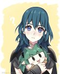 1girl ? blue_eyes blue_hair byleth_(fire_emblem) byleth_(fire_emblem)_(female) character_doll cherrymintlove closed_mouth doll fire_emblem fire_emblem:_three_houses holding holding_doll medium_hair simple_background solo sothis_(fire_emblem) twitter_username upper_body yellow_background