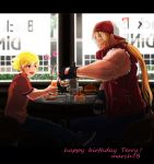 2boys alcohol backwards_hat baseball_cap beer blonde_hair blue_eyes cake child fatal_fury father_and_son fingerless_gloves food gloves hamburger hat highres jacket long_hair male_focus multiple_boys ponytail rock_howard tentenkingyo terry_bogard