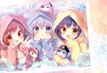 3girls :d :o absurdres animal_hood bangs blue_eyes blue_hair blush bunny_hood chestnut_mouth chimame-tai crease eyepatch eyes_visible_through_hair fang gochuumon_wa_usagi_desu_ka? hair_between_eyes highres hood hood_up hooded_pajamas huge_filesize jouga_maya kafuu_chino long_sleeves looking_at_viewer mitsumomo_mamu multiple_girls natsu_megumi open_mouth pajamas red_eyes redhead scan sleeves_past_wrists smile stuffed_animal stuffed_bunny stuffed_toy translated waving yellow_eyes