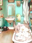 1boy animal_ears bath bathing bathroom bathtub blush brown_eyes cat_ears cat_tail catboy grey_hair highres looking_at_viewer male_focus mirror o3o original rubber_duck shirokujira sink soap_bubbles solo tail toy_boat