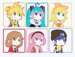 2boys 4girls aqua_eyes aqua_hair bangs beanie black_neckwear blonde_hair blue_eyes blue_hair bow bowtie brown_hair cardigan_vest commentary english_commentary everyone fur-trimmed_jacket fur_trim gyari_(imagesdawn)_(style) hair_bow hair_ornament hairclip hat hatsune_miku headband highres jacket kagamine_len kagamine_rin kaito long_hair megurine_luka meiko multiple_boys multiple_girls nandemo_iu_koto_wo_kiite_kureru_akane-chan_(voiceroid) necktie number open_mouth orange_bow parody pink_hair scarf shirt short_hair short_ponytail spaghetti_strap spiky_hair spring_onion spring_onion_necklace star star_hair_ornament starcircuits straight_hair style_parody swept_bangs t-shirt turtleneck twintails very_long_hair vocaloid yellow_scarf