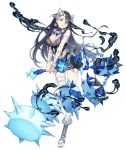 1girl bandages black_hair blood blue_eyes breasts circlet earrings flail full_body fur_trim hair_ornament hair_over_one_eye holding holding_weapon injury jewelry ji_no kaguya_hime_(sinoalice) large_breasts looking_at_viewer official_art sinoalice smoke solo transparent_background weapon