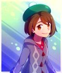 1girl brown_eyes brown_hair commentary english_commentary female_protagonist_(pokemon_swsh) grey_jacket hat jacket looking_at_viewer pokemon pokemon_(game) pokemon_swsh pom_pom_(clothes) short_hair smile solo speckticuls tam_o'_shanter