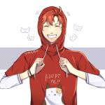 !! 1boy absurdres alternate_costume cat closed_eyes contemporary fira-adhlina fire_emblem fire_emblem:_three_houses highres hood male_focus orange_hair solo sylvain_jose_gautier teeth white_background