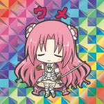 1girl armor armored_boots armored_dress bangs bikkuriman_(style) blush boots brown_gloves character_name chibi closed_eyes closed_mouth collared_dress double_bun dress facing_viewer flower flower_knight_girl full_body garter_straps gloves green_ribbon hair_flower hair_ornament holding holding_weapon knee_boots long_hair parody parted_bangs pink_flower pink_hair rapier ribbon rinechun short_sleeves smile solo standing sword thigh-highs ume_(flower_knight_girl) very_long_hair weapon white_dress white_legwear
