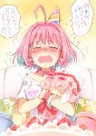ahoge bangs bare_shoulders blue_hair blush bouquet box breasts cake closed_eyes collar collarbone commentary_request crying eyebrows_visible_through_hair facing_viewer fangs flower food fruit gift gift_box gomennasai hair_intakes hat idolmaster idolmaster_cinderella_girls large_breasts multicolored_hair nose_blush object_hug off_shoulder open_mouth party_hat pill_earrings pink_collar pink_hair red_flower red_rose rose shirt short_sleeves strawberry tilted_headwear translation_request trembling two-tone_hair wavy_mouth white_shirt wrist_cuffs yumemi_riamu