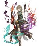 1girl ankle_boots aqua_eyes birdcage boots brown_hair cage chain dress eyebrows_visible_through_hair full_body gloves gretel_(sinoalice) grin hansel_(sinoalice) ji_no looking_at_viewer official_art reverse_grip shaded_face short_hair side_slit sinoalice smile solo sword thigh_strap transparent_background weapon