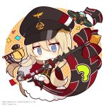 1girl aircraft airplane anchor animal azur_lane bangs bird bismarck_(azur_lane) black_dress black_headwear black_jacket black_legwear blonde_hair blue_eyes bow chain chibi chick commentary_request confetti dress flag full_body fur-trimmed_legwear fur_trim gloves hair_between_eyes hat highres jacket kneehighs long_hair long_sleeves manjuu_(azur_lane) military_hat mouth_hold muuran norwegian_flag official_art outline parted_lips peaked_cap polka_dot polka_dot_background red_bow red_footwear solo striped striped_bow very_long_hair watermark white_background white_gloves white_outline
