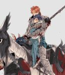 2boys absurdres armor armored_boots black_hair blood blood_on_face bloody_clothes boots cape closed_eyes djuraaah felix_hugo_fraldarius fire_emblem fire_emblem:_three_houses fur_trim gloves grey_background highres horse horseback_riding male_focus multiple_boys orange_eyes orange_hair polearm ponytail riding spear sylvain_jose_gautier weapon