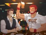 2boys abeberries abs bara beard beer_mug blush bottle bracelet bursting_pecs chest chopsticks closed_eyes facial_hair fate/grand_order fate_(series) highres impossible_clothes jewelry male_focus multiple_boys muscle napoleon_bonaparte_(fate/grand_order) one_eye_closed open_mouth pectorals redhead rider_(fate/zero) shirt sideburns smile t-shirt teeth vest