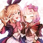 2girls absurdres bangs black_gloves blonde_hair blunt_bangs blush bow clarisse_(granblue_fantasy) eyebrows_visible_through_hair gloves granblue_fantasy green_eyes hair_bow hair_ribbon hairband harigane_shinshi highres long_hair looking_at_viewer multiple_girls one_eye_closed open_mouth orange_hair ponytail princess_connect! princess_connect!_re:dive ribbed_shirt ribbon shirt short_hair swept_bangs upper_body v yellow_eyes
