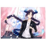 1boy arm_at_side artist_name bangs black_jacket black_pants blue_sky blush braided_ponytail cherry_blossoms curtains day hair_between_eyes hand_up horns indoors jacket jewelry long_hair looking_at_viewer low-tied_long_hair necklace nu10040904 original pants parted_bangs petals purple_hair ring shirt sky smile solo sweatdrop tail very_long_hair violet_eyes white_shirt window