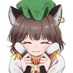 1girl :3 ^_^ animal_ear_fluff animal_ears bangs blush bow bowtie brown_hair cat_ears cat_tail chen closed_eyes commentary_request dtvisu earrings eyebrows_visible_through_hair facing_viewer green_headwear hands_up hat holding_own_tail jewelry mob_cap multiple_tails nekomata partial_commentary portrait red_vest ribbon shirt short_hair simple_background smile solo tail touhou two_tails vest white_background white_shirt yellow_bow yellow_neckwear yellow_ribbon
