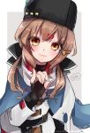 1girl anchor_necklace belt black_belt black_bow black_gloves black_headwear black_skirt blue_shawl blush bow brown_eyes brown_hair closed_mouth eyebrows_visible_through_hair fingerless_gloves gloves gradient gradient_background hair_between_eyes hair_bow hair_ornament hairclip highres jacket kantai_collection long_hair looking_at_viewer low_twintails mizoredama1 papakha red_shirt russian_clothes scarf shawl shirt skirt smile solo star tashkent_(kantai_collection) torn_scarf twintails white_jacket white_scarf