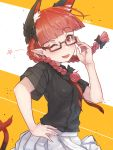 1girl ;d adjusting_eyewear animal_ear_fluff animal_ears bangs bespectacled black-framed_eyewear black_bow black_shirt blunt_bangs bow braid cat_ears cat_tail commentary_request cowboy_shot eyebrows_visible_through_hair fang glasses hair_bow hand_on_hip hand_up head_tilt highres kaenbyou_rin long_hair miniskirt multiple_tails necktie nekomata one_eye_closed open_mouth pleated_skirt pointy_ears red_eyes red_neckwear redhead senzaicha_kasukadoki shirt short_sleeves skin_fang skirt smile solo star tail touhou twin_braids twintails two-tone_background two_tails white_background white_skirt yellow_background