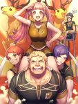 2girls 3boys animal antlers binoculars brown_hair chair claude_von_riegan deer fire_emblem fire_emblem:_three_houses gym_uniform headband highres hilda_valentine_goneril kibasen leonie_pinelli lorenz_hellman_gloucester moyashi_mou2 multiple_boys multiple_girls open_mouth pink_hair purple_hair raphael_kirsten sitting sleeveless smile twintails