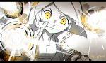 1girl arm_cannon attacking_viewer charging clenched_hand jacket looking_at_viewer medium_hair mii_(nintendo) mii_gunner nintendo nintendo_ead sg_(suuchan) solo sora_(company) spot_color super_smash_bros. twitter_username weapon yellow_eyes