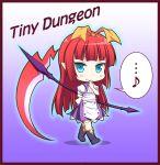 1girl blue_eyes boots demon_girl kyuutou_(kyuutouryuu) long_hair original redhead scythe thigh-highs thigh_boots