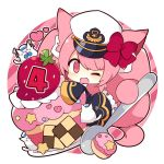 >_< 1girl ;d animal animal_ear_fluff animal_ears azur_lane bangs black_jacket black_skirt bow cat cat_ears cat_girl cat_tail checkerboard_cookie chibi closed_eyes commentary_request cookie diagonal-striped_background diagonal_stripes food frilled_skirt frills fruit hat heart jacket long_sleeves looking_at_viewer meowfficer_(azur_lane) military military_hat military_uniform muuran official_art one_eye_closed open_mouth peaked_cap pink_eyes pink_hair red_bow sailor_hat skirt sleeves_past_fingers sleeves_past_wrists smile solo spoon strawberry striped striped_background tail uniform white_background white_headwear